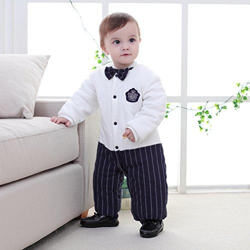 Mays Baby Toddler Boys Tuxedo Bowtie Gentleman Romper Onesie with Cap