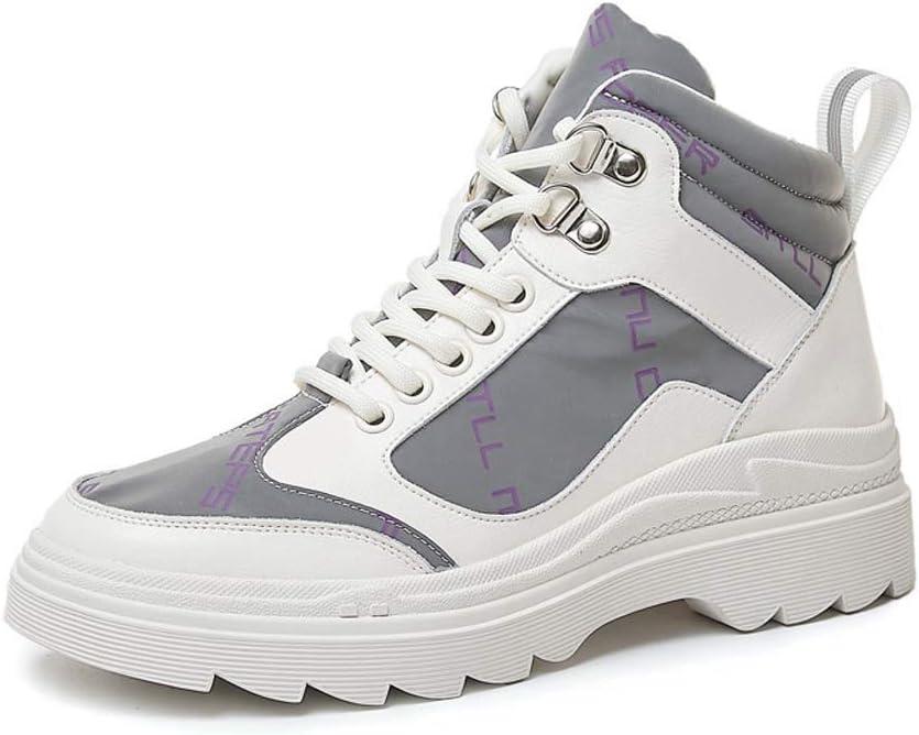 AHOES-HY Zapatos Casuales de Mujer, Zapatillas de Deporte Ightweight Comfort, Botines Planos de caña Alta Zapatos de Gimnasia para Caminar,Blanco,35: Amazon.es: Jardín