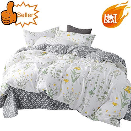 OTOB Grey Duvet Cover Set Spring with 2 Pillow Shams for Kids Tree Flower Chrysanthemum Pattern 3 Piece Bedding Set, Full/Queen