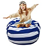 Large Toy Storage Bag, Extra-Large Canvas Stuffed Animal Storage Bean Bag Cover Bag Chair Kids Plush Toy Organizer, Clean up The Room Perfect Storage Solution(Royal Blue)