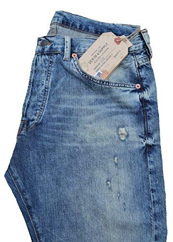 Ralph Lauren Denim & Supply Jeans Slim it Low Rise Blau Blau Vintage destroyed Größe W34 L34