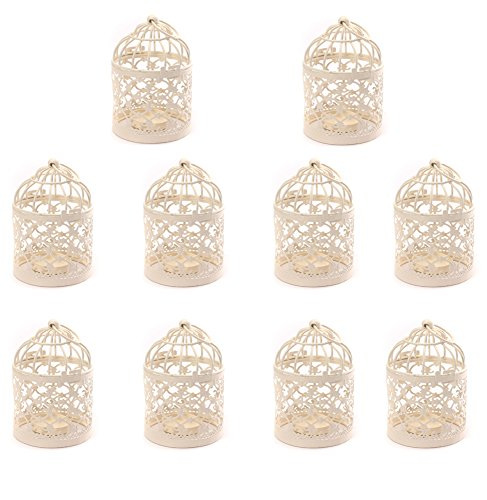 Hosaire Metal Tealight Candle Holder 10 pcs Hanging Lanterns Creative Wedding Home Table Decoration Birdcage White 3.1x5.5 In