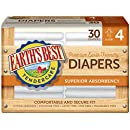 Earth's Best TenderCare Chlorine-Free Diapers, Fragrance Free, Size 4, Weight 22-37 lbs, 30 Count (Pack of 4)