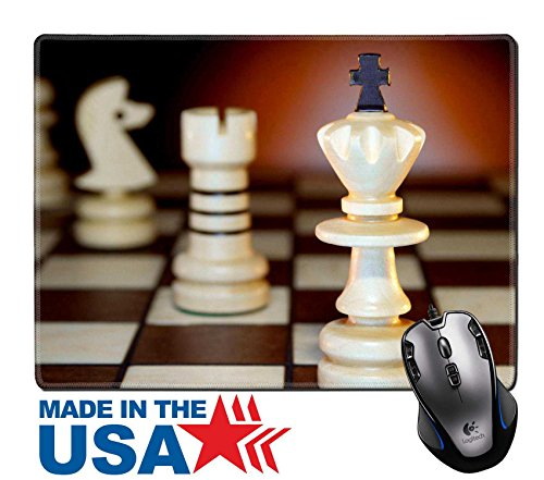 """MSD Natural Rubber Mouse Pad/Mat with Stitched Edges 9.8"""" x 7.9"""" Chessmen on a chess board An art dark background IMAGE 27453655 (Edge Board Chess)"""