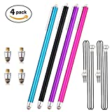 4 x Extra Long Stylus/Styli (19cm/7.5'') with Microfiber Tips + 4 x Replacement Microfiber Tips + 4 x 15'' Detachable Elastic Tether Strings