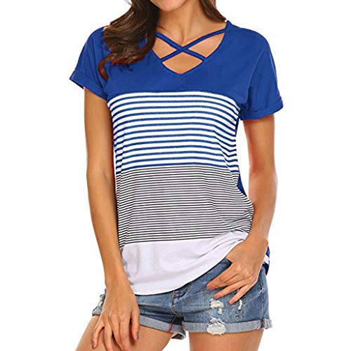 CCatyam Plus Size Blouses for Women, Tops T Shirt Stripe Splice Loose Sexy Casual Fashion Blue