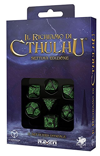 Q WORKSHOP Call Of Cthulhu black & green RPG Ornamented Dice Set 7 Polyhedral Pieces by Q WORKSHOP