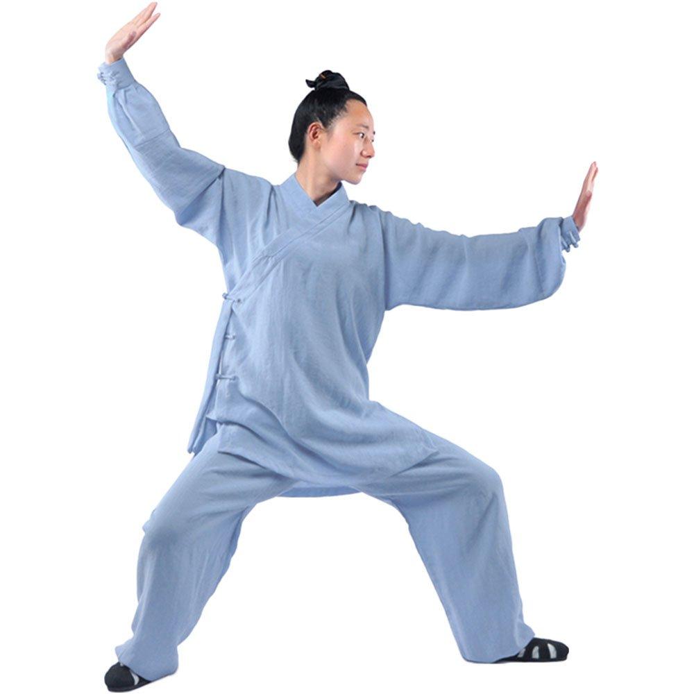 ZooBoo Tai Chi Uniform Clothing - Qi Gong Martial Arts Wing Chun Shaolin Kung Fu Training Cloths Apparel Clothing - Hemp (XL, Aqua Blue)
