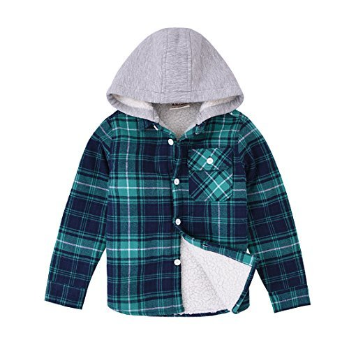 (MOMOLAND Little Boys Long Sleeve Sherpa Lined Flannel Shirt Jacket with Hood (2-3Y, Green and Navy))