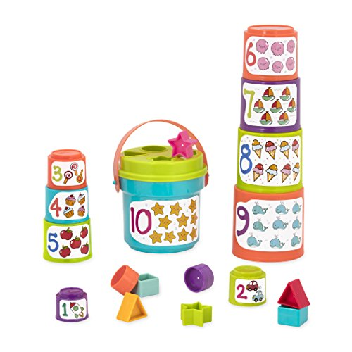 Battat - Sort & Stack - Educational Stacking Cups with Numbers and Shapes for Toddlers ()