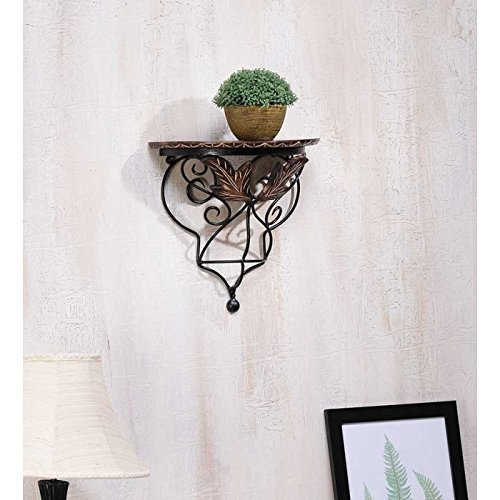Onlineshoppee Wood  amp; Wrought Iron Hand Carved Leaf Design Wall Shelf Floating Wall Shelves
