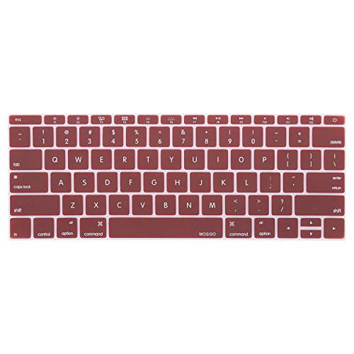 MOSISO Silicone Keyboard Cover Compatible MacBook Pro 13 Inch 2017 & 2016 Release A1708 Without Touch Bar, MacBook 12 Inch A1534 Protective Skin, Marsala Red