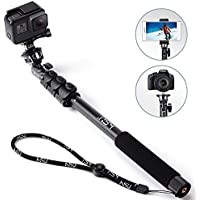 HSU Monopod Selfie Stick for GoPro, Smartphone, Camera - Lightweight Rugged Waterproof Extension Pole 16.14-47.64 Inch. - Tripod Mount