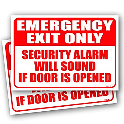 """(2 Pack) Emergency Exit Only Alarm Will Sound Sign 10""""x7"""" 4MIL UV Laminated Emergency Exit Only Door Sign Self Adhesive Sticker Decal"""