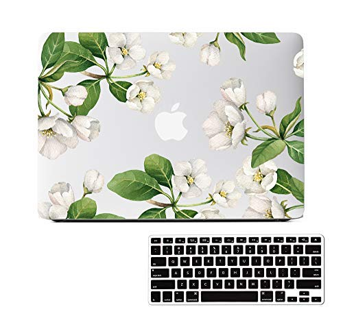 White Floral Clear Case Compatible MacBook Pro 13 inch Model A1502/A1425 (Retina, Early 2015/2014/2013/Late 2012) NO CD ROM, NO Touch Bar, Soft Touch Matte See Through Hard Case