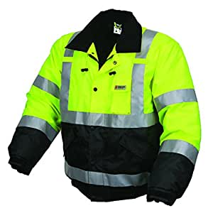 MCR Safety BBCL3LL Luminator Class 3 Insulated Polyester Water Resistant Two-Tone Bomber Jacket with 3M Silver Reflective Stripes, Fluorescent Lime Green, Large
