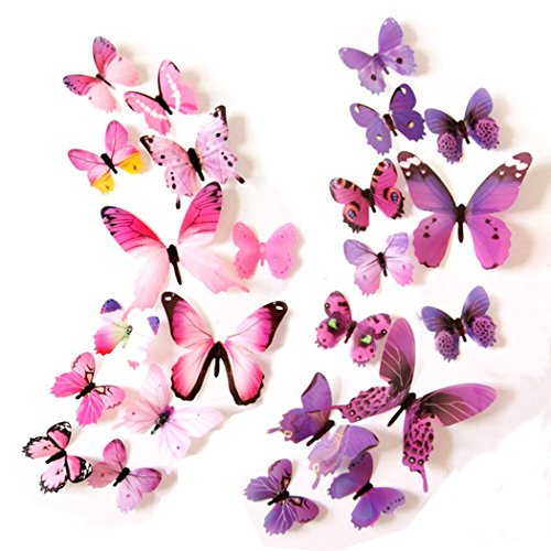 Euter Butterfly Removable Mural Wall Stickers Art Decor Kids Room Decals 12pcs Purple+12 pcs Pink (Pink Purple Butterflies)