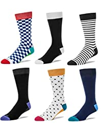FUN TOES Mens Cotton Casual/Dress Crew Socks Colorful Patterned 6 Pairs