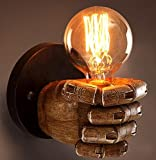 Best to Buy Industrial Edison Fist Simplicity 1 Light Wall Lamp Aged Steel Finished,Resin, do not fade, fine workmanship --Warm White,2700K (Fist G80 bulb WW)