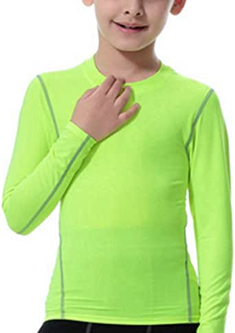 Lanbaosi Boys Thermal Underwear Tops Long Sleeve Round Neck Compression T-Shirt for Girls