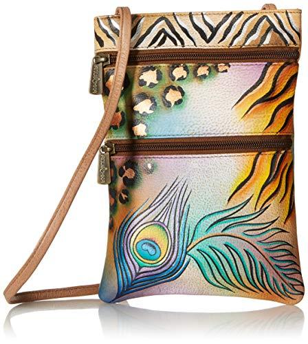 Peacock Fabric Handbags - Anuschka Women's Genuine Leather Hand Painted Double Zip Travel Crossbody Bag | Peacock Safari