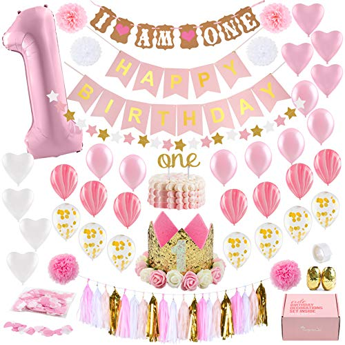 (Baby Girl First Birthday Decorations WITH Birthday Crown - 1st Birthday Girl Decorations - Pink and Gold Party Supplies - Number One, Heart and Confetti Balloons, Happy Birthday)