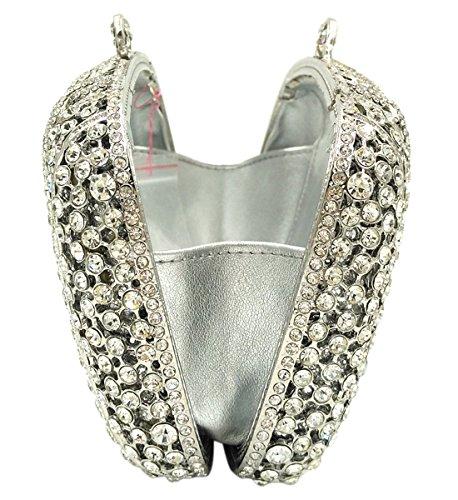 silver pour Chaîne Bandouliere à Sac Main Soirée Pochette Fête Femmes Clutch Mariage Maquillage Bourse Bal Sac qgZtSxvwF