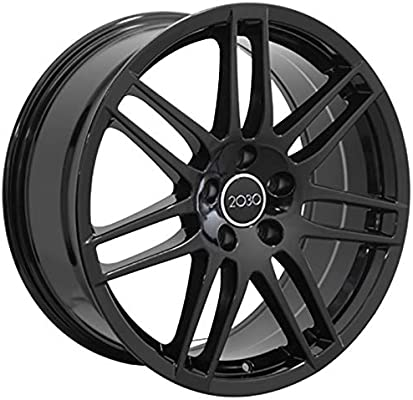 Partsynergy Replacement For 18 Rim fits 2006-2019 Audi A3 RS4 Style Black 18x8 Aluminum Wheel