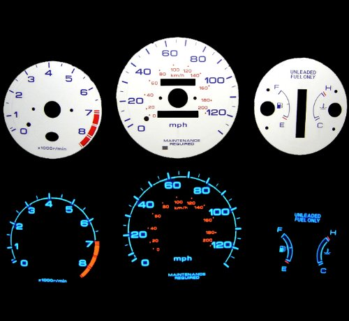 (Blue Indiglo Glow White Gauge for 96-00 Civic EX/LX at w/Tach RPM )