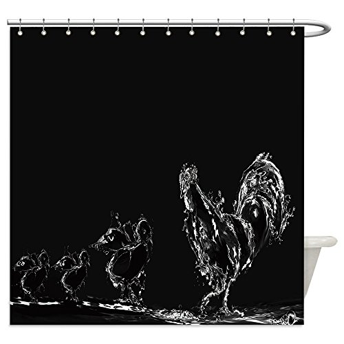 Vanfan Shower Curtains a black water rooster with three water chicks 199046690 For Bathroom