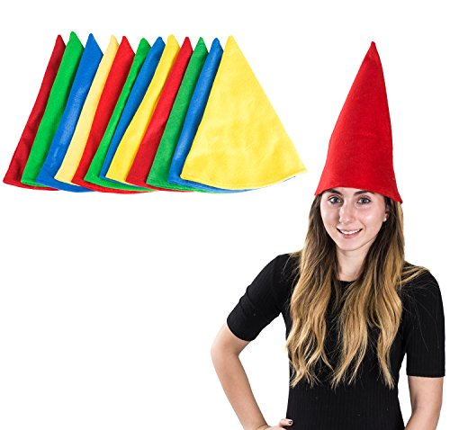 Felt Gnome Hats - Set Of 12 Hats - Dwarf Hats - Dwarf Costume - Gnome Costume by Funny Party Hats