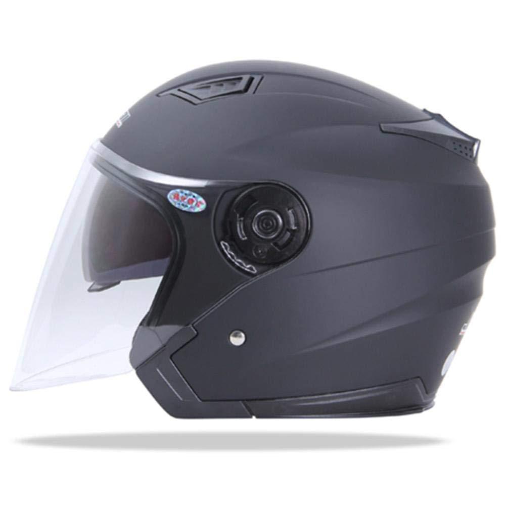 Double Lens Helm ZHIXX MALL Klapphelm Integralhelm ,Blendung Vermeiden Motorradhelm Roller Sturz Helm Mattschwarz, XL