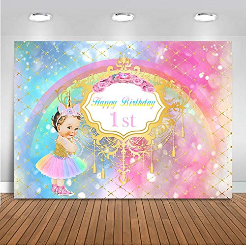 Mehofoto Royal Princess 1st Birthday Backdrop Little Unicorn Rainbow Glitter Photography Background 7x5ft Vinyl Baby Girl's First Birthday Party Backdrops Banner