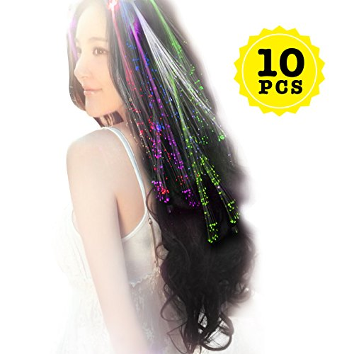 Wiekose 10pcs Multicolor Changing LED Flashing Fiber Optic Hair Braid Barrettes Lights for Party Supplies, LED Lights Hair, Bar Dancing Hairpin, Hair Clip, Multicolor Flash Barrettes Clip Braid (10) -