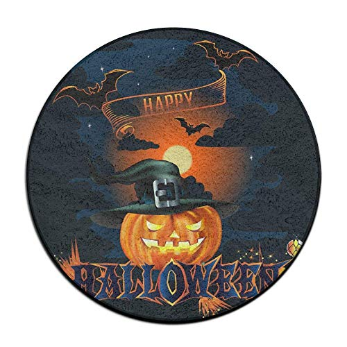 (Happy Halloween Poster Decor Anti Slippery Doormats Soft Coral Velvet Pads (23.6 Inch) Welcome Mat Round Area)