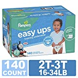 Pampers Easy Ups Training Pants Pull On Disposable Diapers for Boys, 2T-3T, 140 Count ONE Month Supply
