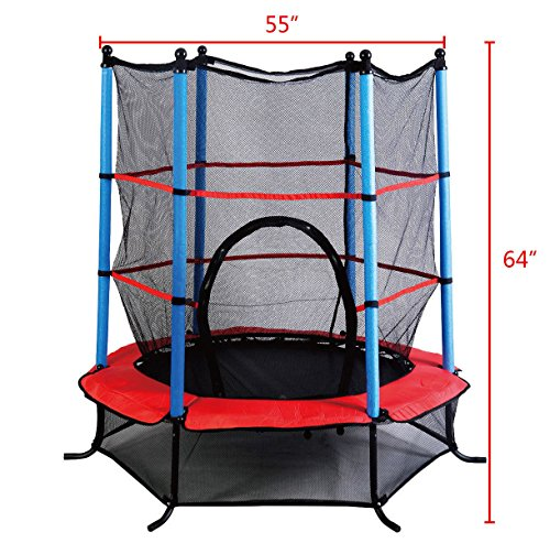 "Marketworldcup- Youth Jumping Round Trampoline 55"" Exercise W/ Safety Pad Enclosure Combo Kids US Stocks & Warranty! Best Quality !Fastest Shipping ! by Marketworldcup (Image #1)"