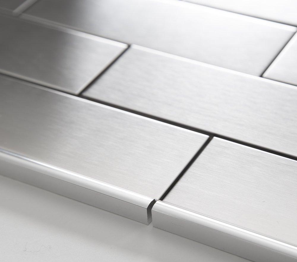 Amazon.com: Vogue Tile 12 inch Stainless Steel Trim Glass,Decorative ...