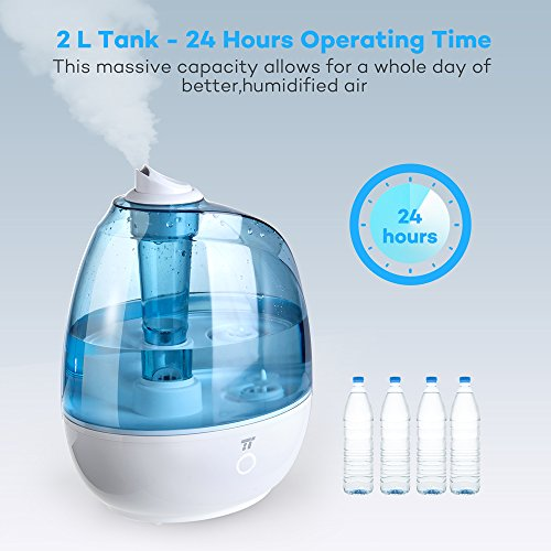 TaoTronics Humidifier, 2L Cool Mist Ultrasonic Humidifiers, Zero Disturb Sleep Mode for Baby Bedroom, Filter Free and Whisper Quiet- US Plug110V