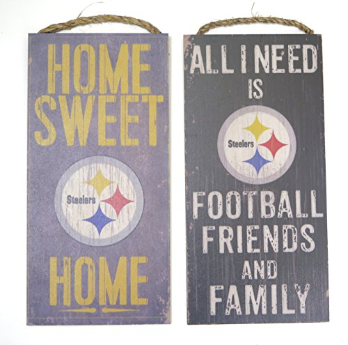 New Island 50 Pittsburgh Steelers Wall decor. two Wood plaque set, Friends and family and home sweet home themes, ()