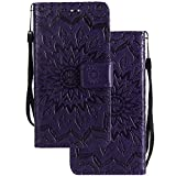 LEMORRY Huawei Honor 4C / Huawei G Play Mini Case Leather Flip Wallet Pouch Slim Fit Bumper Protection Magnetic Strap Stand Card Slot Soft TPU Cover for Huawei Honor 4C, Blossom Purple