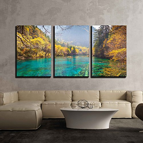 wall26 - 3 Piece Canvas Wall Art - Jiuzhaigou Valley Scenic and Historic Interest Area, Sichuan, China - Modern Home Decor Stretched and Framed Ready to Hang - 16