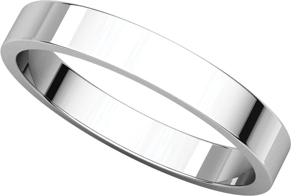 Mens Platinum, Flat Wedding Band 3MM (sz 7)