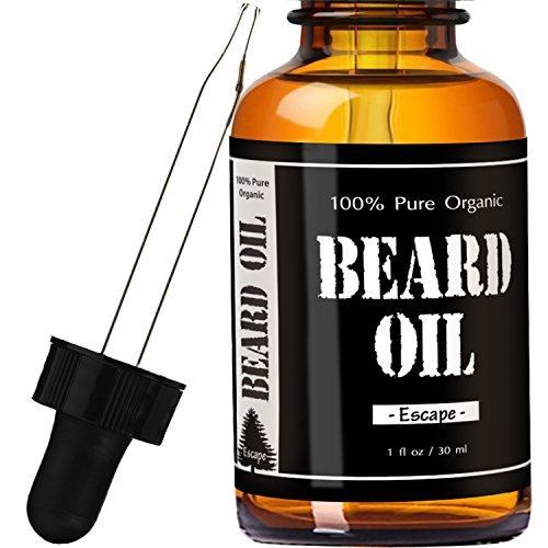 #1 RATED Escape Cedarwood Scented Beard Oil and Leave-in Conditioner by Leven Rose – Best Scented Beard Oil 100% Organic Natural for Groomed Beard Growth, Mustache, Skin for Men – 1 oz – Premium Oils