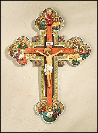 Blessed By Pope Benedit XVI Wall Crucifix with twelve Apostles
