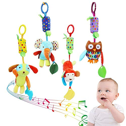 Soft Hanging Toy-Baby Infant Rattle Toys Stroller Car Seat Crib Travel Activity with Animal Wind Chime and Teethers for Boys Girls(4 (Infant Travel Rattle)