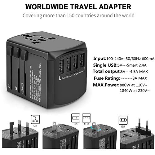 51mHkTAthML - Travel Adapter, Universal Plug Adapter for Worldwide Travel, International Power Adapter, Plug Converter with 4 USB Ports, All in One Wall Charger AC Socket for European UK AUS Asia Cell Phone Laptop