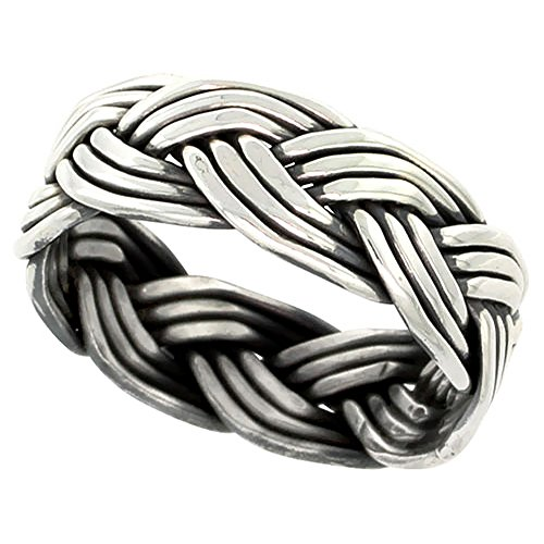 (Sterling Silver Wire Braided Ring Handmade 5/16 inch wide, size 7)