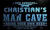 qb235-b Christian's Man Cave Baseball Bar Neon Sign