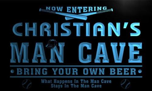 qb235-b Christian's Man Cave Baseball Bar Neon Sign by AdvPro Name